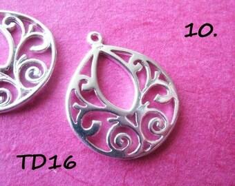 Sterling Silver TEARDROP Charms Pendants Drops LARGE 18X8 mm wholesale charms pendants  td18 1 pair