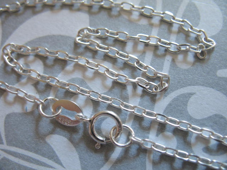 Heavy Drawn Cable Finished Chain d601.d 2.5x1.7 mm 1 pc 16 or 18 inch Sterling Silver Cable Chain
