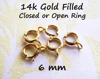 10-100 pcs / Bulk 14k Gold Filled Springring Clasp Spring Ring Clasp Wholesale, 6 mm Open or Closed, finish small to medium chain fc.s solo