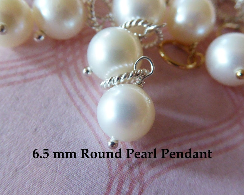 Single Pearl Pendant Pearl Charm  6.5 mm Solitaire Pearl Pearl Jewelry  Freshwater Pearl Charm Necklace  June birthstone Jewelry gdp1150