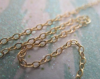 Gold Filled Chain, 1.4 mm Flat Cable Chain, 14k Gold Filled, 15-25 Percent Less, bulk chain sgf1 tgc