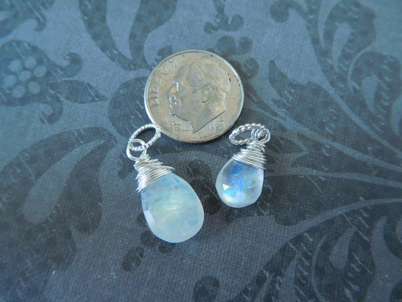 MOONSTONE Pendant Add a Dangle  Sterling Silver or Gold Fill Wire Wrap Charm  June birthstone Bridesmaids Bridal Wedding Jewelry Gift gd2