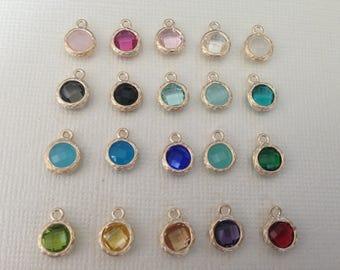 Gemstone Pendant Charm / 1-100 pcs / Bezel Set Glass Gem / Gold Plated over Brasss / Birthstone Pendants / 9.7x7.3 mm / gp17.mm gp