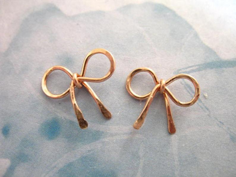 14k Gold Fill Ribbon Bow Knot designer bridal bridesmaids art rg 12x11.5 mm 1-50 pieces Petite Small Rose Gold BOW Pendant Charm