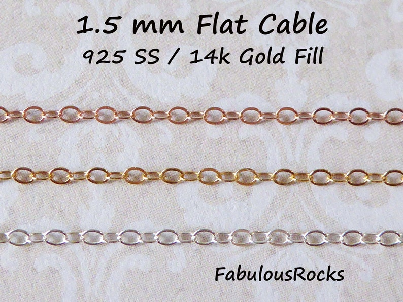 Gold Fill Chain Wholesale Gold Chain, 1.5 mm 14k Gold Filled Chain Flat Cable Chain, 14k GF Dainty Chain Jewelry Chain ssgf sgf1 s1 t q fcc photo
