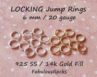 10-100 pc  14k Gold Filled LOCKING Jump Ring Jump Lock Jumpring Jumplock Bulk, Open 6 mm 20 gauge, Wholesale Jewelry Finding jr6 2t solo ool