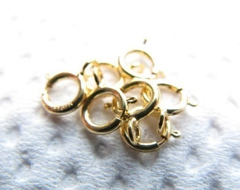 14k Gold Filled Spring Ring Clasps, 6 mm, OPEN ring, wholesale clasps jewelry findings, yg only