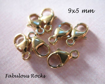 1-100 pcs, 14k Gold Filled Lobster Clasp Lobster Claw Clasp Trigger Clasps Bulk / 9.5x5 mm, wholesale jewelry supply findings fc.s solo lc.2