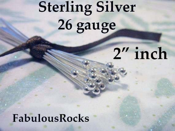50 Sterling Silver 925 Flat Headpins 26 Gauge 1.5/""