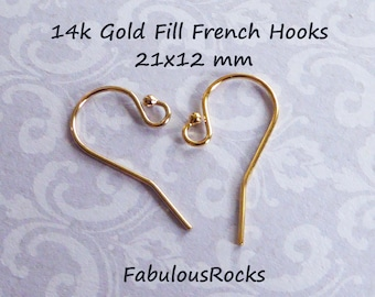 5-100 pairs, French Hook Earrings EarWires Ear Wires  21x12 mm, Sterling Silver or 14k Gold Fill Single Ball Ear Hooks wholesale fhe.sb