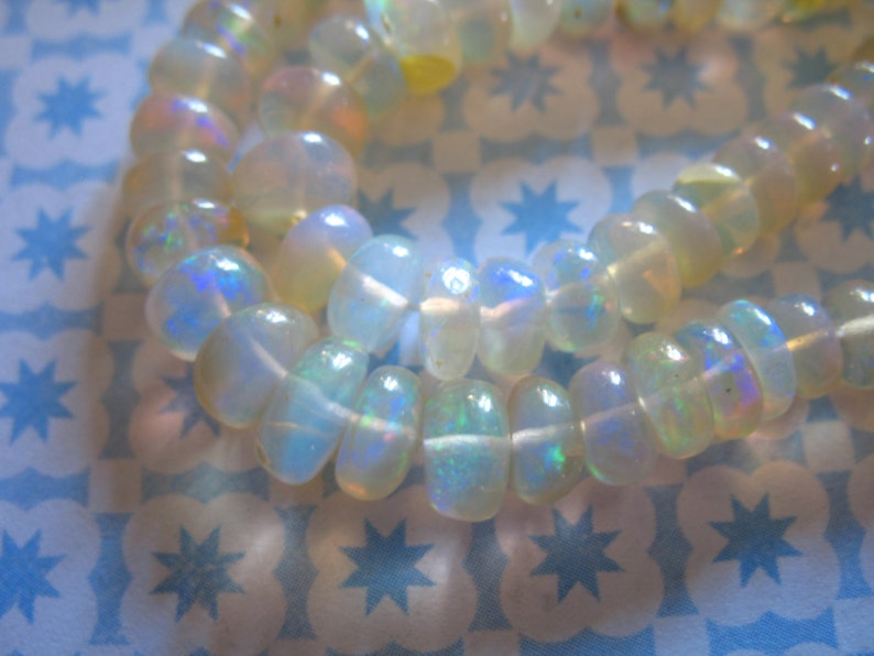 brides bridal weddings high end 34 ETHIOPIAN OPAL Rondelles Beads Luxe AAA 10-50 pcs  3-4 mm Smooth White Opal Welo Opal