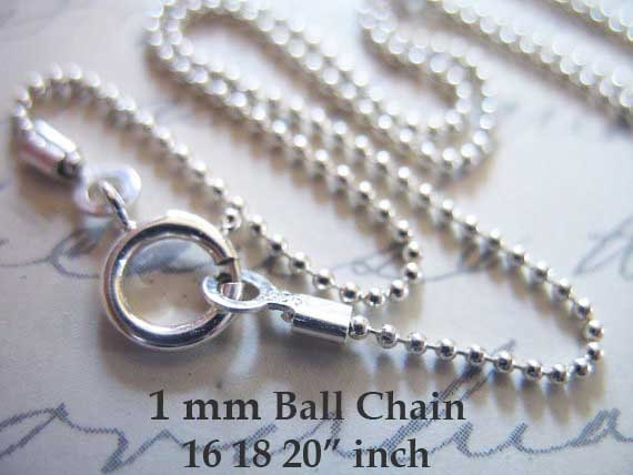 """10 pcs Sterling Silver 1.5mm Ball Bead Chains 16/"""" /&18/"""""""