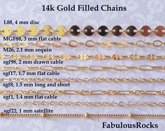 1-25 ft / Gold Fill CHAIN, 14kt 14k Gold Filled Chain, Cable Necklace Chain Wholesale Chain 1.3 1.5 1.7 2 mm  mmgf m38 sgf1 sgf7 sgf50 gs
