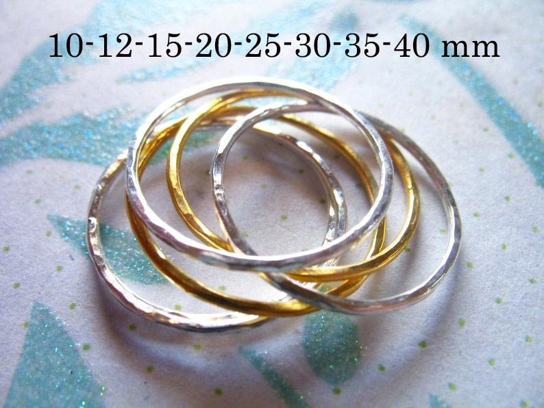 1-10 pcs, 10 12 15 20 25 35 40 mm, CIRCLE Charm Circle Pendant Link Connector, Hammered Infinity Circle, 14k Gold Fill or Sterling Silver photo
