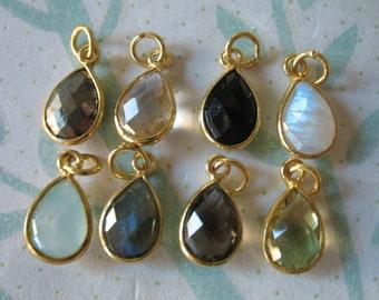 1-10 pcs, Bezel Gemstone Pendants Charms Links Connector, 14x8.25 mm, 24k Gold Vermeil or Sterling Silver, GCP4