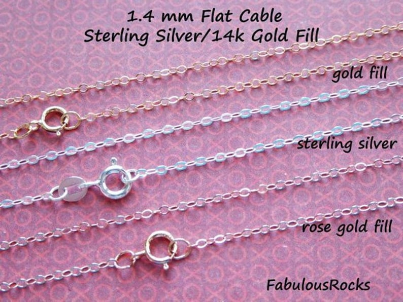 """Gold Fill Chain, Rose Gold Fill, Sterling Silver FINISH Necklace, 14"""" 16"""" 18"""" 20"""" 22"""" 24"""" 30"""" 36"""" inch, 1.4 mm Flat Cable Wholesale Chain g1 photo"""
