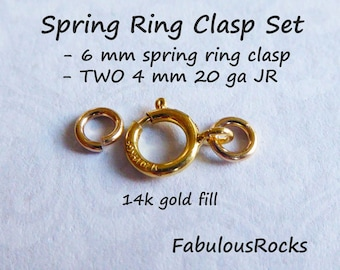 5-100 SETS / Spring Ring Clasp Springring Clasp Sets, 14k Gold Fill, 6 mm, Open or Closed, Wholesale Jewelry Supplies solo fc.s o