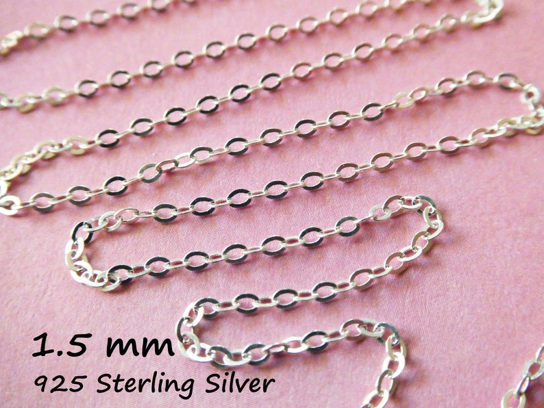 1 to 100 feet, Sterling Silver Flat Cable Chain or Round Cable Chain, Solid 925 SS Chain Bulk, 1.5 mm Oval Link Necklace Chain s88 s68 d66 photo
