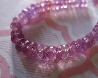 SONGEA SAPPHIRE Rondelles Beads, Muted Purple, Luxe AAA, 3-4 mm Faceted, september birthstone