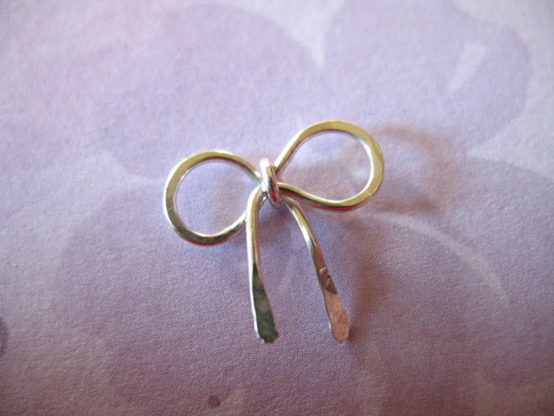 BOW Charm Pendant  PETITE Small Ribbon  925 Sterling Silver  12x11.5 mm  tie knot bow  hammered  art solo