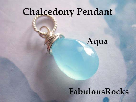 March Birthstone  Gift for Her Bridesmaids Mother Friend  gdcc.p.1 CHALCEDONY Pendant Charm Add a Dangle Jewelry  AQUA Aquamarine BLUE