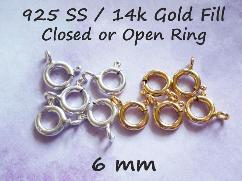 5-100 pcs / 6 mm Open or Closed Loop Spring Ring Clasps image 0