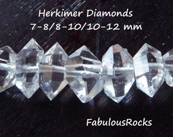 Herkimer Diamonds Nuggets Beads  6-8, 8-10, 10-12, 12-14 mm  AAA+ Quartz Crystals Wholesale Double Terminated Gemstone  s m l xl