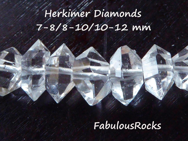 Herkimer Diamonds Nuggets Beads  6-8, 8-10, 10-12, 12-14, 14-18 mm  AAA+ Quartz Crystals Wholesale Double Terminated Gemstone  s m l xl xxl photo