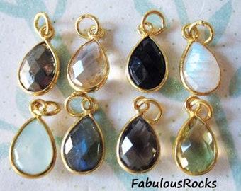 1-100 pcs / Gemstone Pendant Charm, TearDrop Tear Drop Bezel Gem Charm Pendant / 14x8.25 mm, 24k Gold Vermeil or Sterling Silver / gcp4 gp