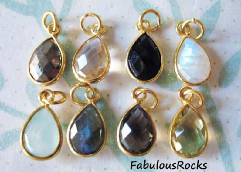 1-100 pcs / Gemstone Pendant Charm, TearDrop Tear Drop Bezel Gem Charm Pendant / 14x8.25 mm, 24k Gold Vermeil or Sterling Silver / gcp4 gp photo