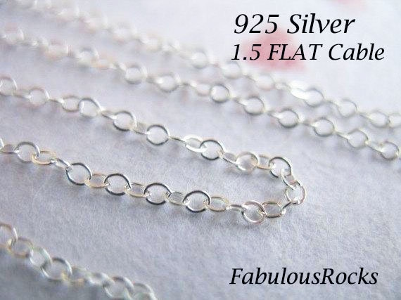 Best Designer Jewelry Sterling Silver 1.5mm Flat Open Oval Cable Chain