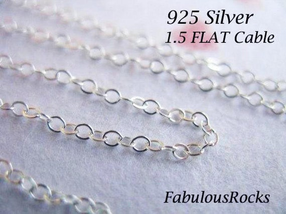 Sterling Silver Flat Cable Chain 2 x 1.5mm  BULK Wholesale 50 ft