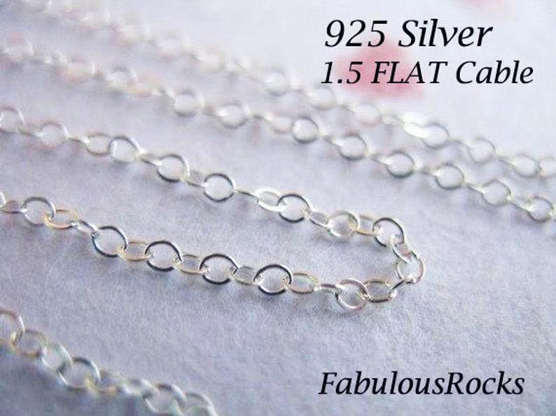 Sterling Silver Chain Bulk Flat Cable Chain Unfinished Jewelry Making Chain 1 to 100 feet, 2x1.5 mm Cable Necklace Chain ss s88 v88 hp photo