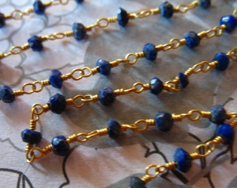LAPIS Rosary Chain by the foot / Wire Wrapped Chain / Beaded Chain, Gold or Silver Plated / Wholesale Gemstone Chain rc.11