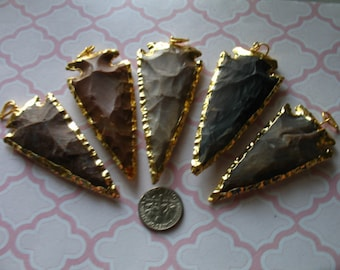 "Jasper Arrowhead Pendant Charm / Jasper Arrow Head / 24k Gold or Silver Electroplated Edge / 1.5-2"" or 2-2.5+"" / wholesale, ap10.5  jl js ah"