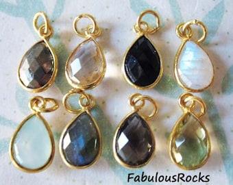 Bezel Gemstone Pendants Charms / choose gemstone, 14x8.25 mm, 24k Gold Vermeil or Sterling Silver, petite pear teardrop tear drop GCP4