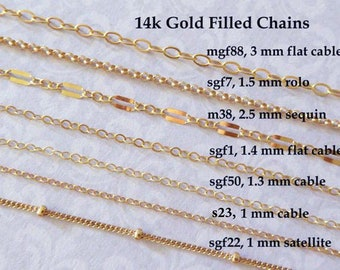Gold Fill CHAIN, 14k Gold Filled Chain, Necklace Chain Wholesale Chain, delicate s23 l88 mgf88 m26 sgf98 m38 sgf1 sgf7 sgf22 sgf50 s1 gs t