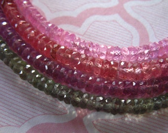 10-50 pcs, SONGEA SAPPHIRE Rondelles Beads, Fire Orange Red, Luxe AAA, 2.75-3.5+ mm, Faceted, september birthstone solo