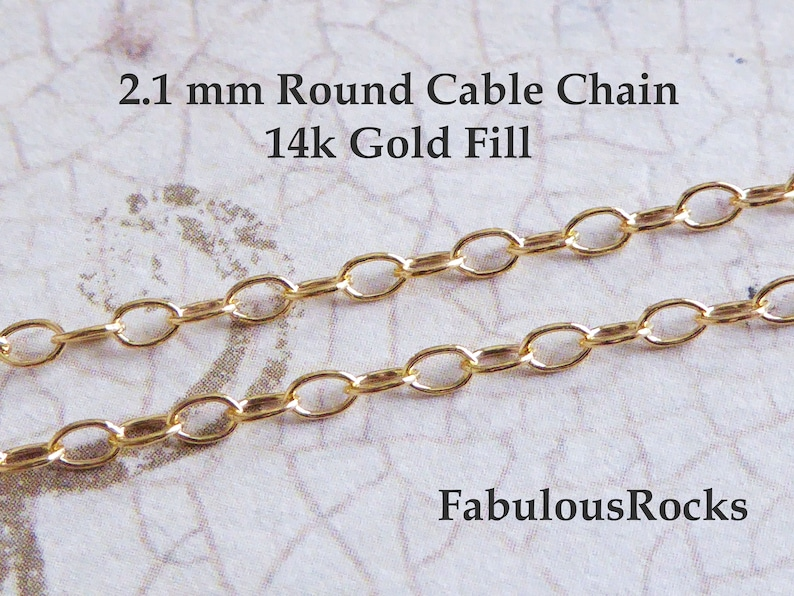 2830f8adefc 10-100 ft / 2.1 mm Gold Round Cable Necklace Chain / Wholesale Unfinished  Jewelry Chain / 14k Gold Fill Bulk Footage Chain solo MMGF. MGF60
