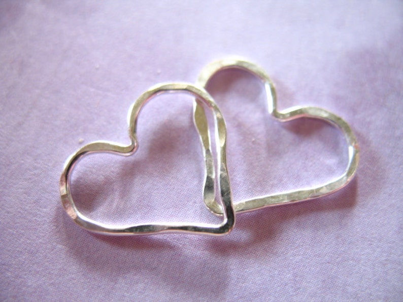 HEART Charms Pendant Link Connector / 1-10 pcs, Gold Fill or Sterling Silver, Hammered Heart / 15.5x14 mm / wholesale supply, solo hht photo