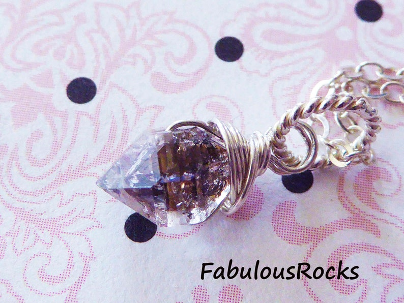 Herkimer Diamond Gemstone Necklace  Herkimers Quartz Crystal Nugget Pendant Charm  Metaphysical Gem Healing Crystal hj solo