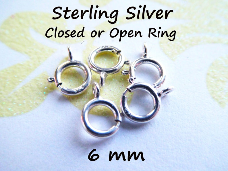 5-500 pcs / 6 mm Spring Ring Clasp Springring Clasp Wholesale Jewelry Supply, OPEN or Closed Ring, Sterling Silver fc.s hp solo cs fc.m photo