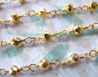 """16 to 36"""" Pyrite Rosary Chain, Finished Chain, Wire Wrapped Beaded Chain, Gold, Gemstone Chain done drc solo rc16"""