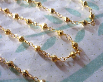 5 feet, PYRITE Rosary Chain, Wire Wrapped Rondelle Chain, Gold Plated, Wholesale Gemstone Chain rc.16