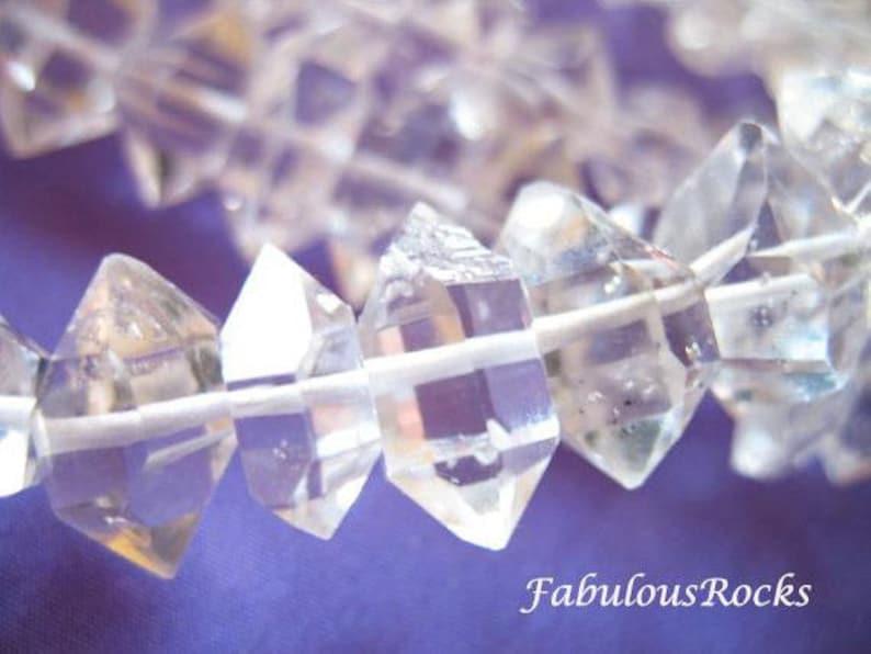 5-7, 7-8, 8-10, or 10-12 mm / Herkimer Diamond Beads Nuggets Raw Clear Quartz Crystal Herkimer Diamond Gems / Center Drilled Herkimer Gems photo