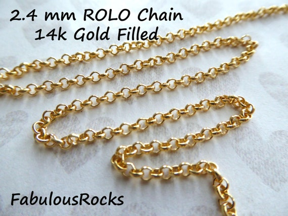 18 Inches Finished Chain 14K Gold Filled Rolo Chain Necklace FC3