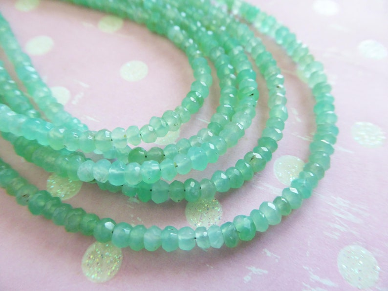 AAA Faceted Gems May Birthstone solo brr 3-3.5 mm Natural Australian Chrysoprase Chrysoprase Rondelle Gemstone Beads 12 Strand 6.5