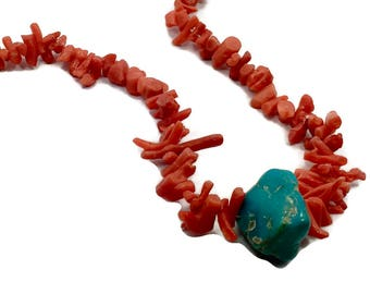 Turquoise Necklace,  Red Branch Coral, Vintage Necklace, Beaded Necklace, Boho Jewelry, Southwestern, Country Western