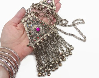 Kuchi Necklace, Vintage Necklace, Afghan Jewelry, Turkomen, Bedouin necklace, Gypsy jewelry, Silver chain necklace,  Invintageheaven