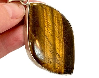 Tigers Eye Pendant, Sterling Silver, Vintage Pendant, Big Stone, Contemporary, Large, Statement Pendant, Brown Stone